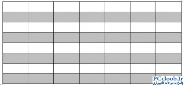 پس زمینه یک میان سطر های جدول