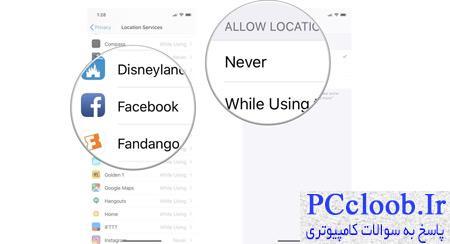 موقعیت مکانی فیس بوک  در آیفون, فیس بوک موبایل